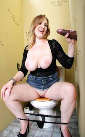 Blonde With Big Boobs Vicky Vixen Sucks Big Black Cock Through Glory Hole