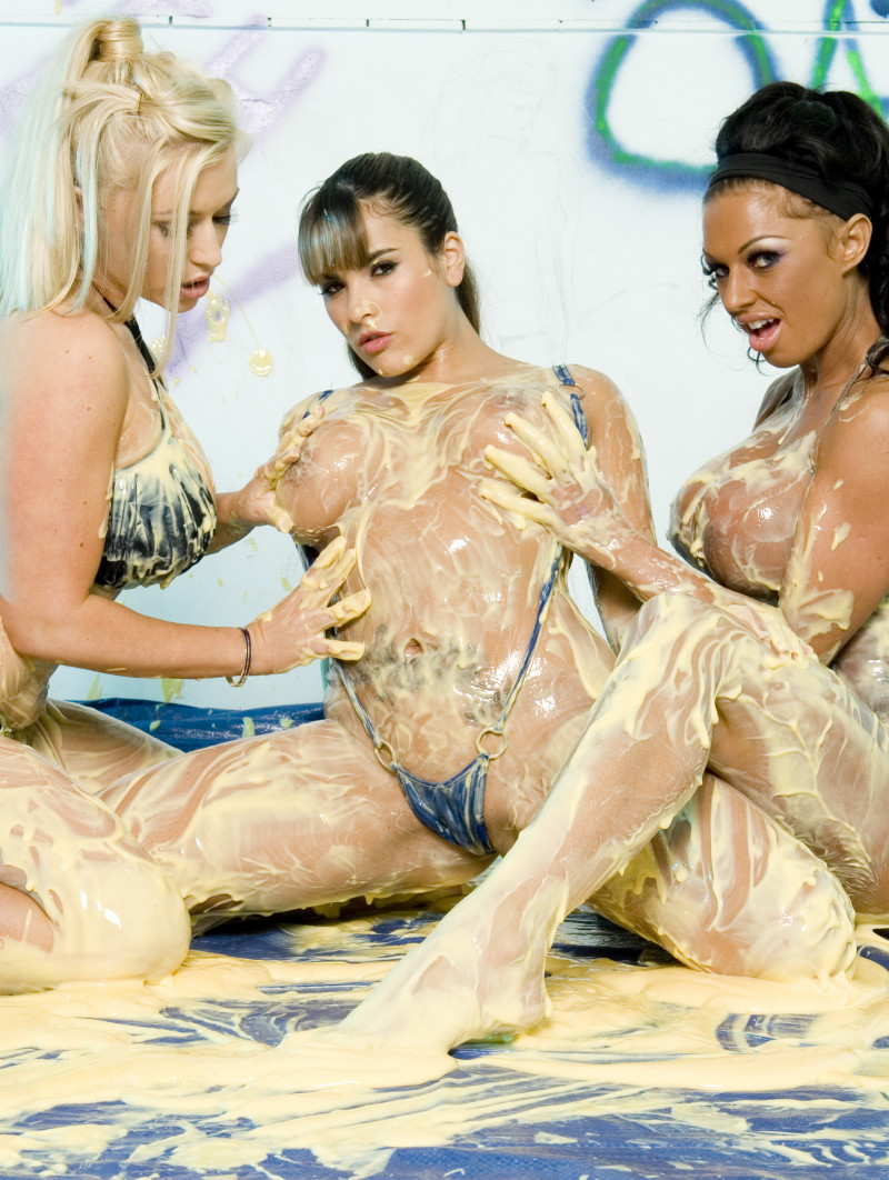Another Lesbian Threesome Featuring Three Horny Girls Who Make A Mess