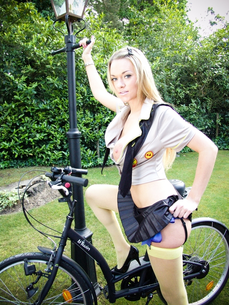 Stacked Blonde Girl Picks Up Dudes While Riding Her Bike